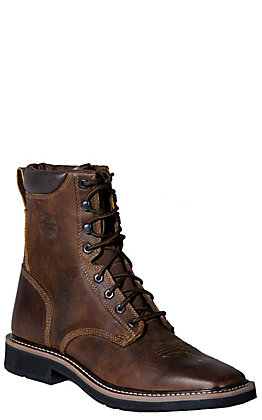 "Justin Pulley Men's Rugged Brown Square Steel Toe 8"" Lace Up Work Boots"