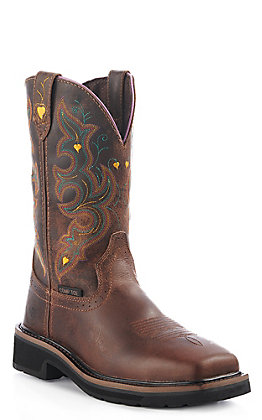 Justin Original Ladies Tan Composition Safety Toe Work Boot