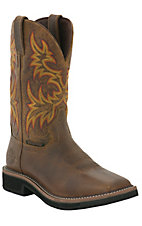 Justin Original Work Boots Stampede Ladies Rugged Brown Square Toe Work Boots
