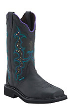 Justin Ladies Gypsy Black Pebble Grain Composite Square Toe Work Boot