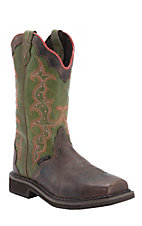 Justin Ladies Gypsy Waxy Brown w/ Vibrant Green Composite Toe Work Boot