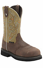 Justin Ladies Gypsy Barnwood w/ Apple Green Top Saddle Vamp Steel Toe Work Boot