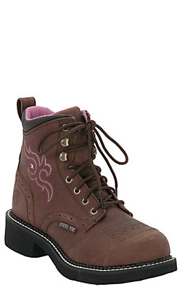 Justin Women's Katerina Gypsy Collection Aged Bark Round Steel Toe Lace Up Work Boot