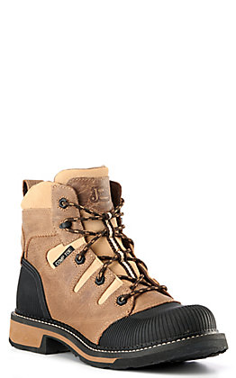 Justin Women's Claudette Taupe and Brown Waterproof Round Composite Toe Lace Up Work Boot