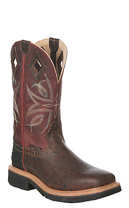 Justin Kylee Women's Rust Ostrich and Burgundy Square Composite Toe Work Boots