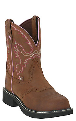 Justin Ladies Gypsy Aged Bark with Saddle Vamp Steel Toe Work Boot
