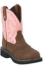 Justin Ladies Gypsy Bay Apache w/ Pink Top Saddle Vamp Steel Toe Work Boot