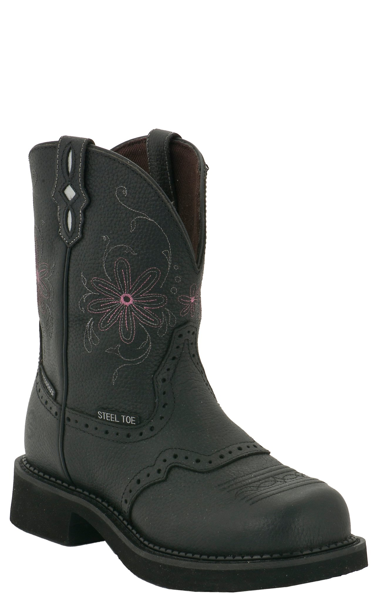 Justin Original Work Boots Gypsy Ladies Black Saddle Vamp WP Steel ...