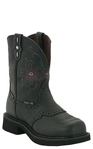 Justin Original Work Boots Gypsy Ladies Black Saddle Vamp WP Steel ...