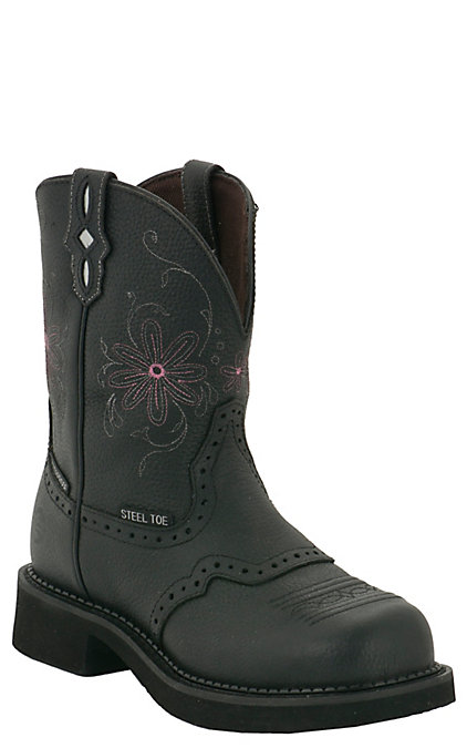 6aa87b23777 Justin Wanette Women's Black Waterproof Round Steel Toe Work Boots