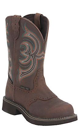 Justin Ladies Gypsy Aged Bark with Saddle Vamp Waterproof Steel Toe Work Boot