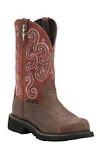 Justin Gypsy Women's Copper Kettle with Red Crystal Top Round Steel Toe Work Boots
