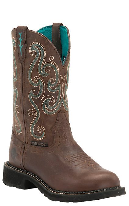28fcfb5377b Justin Tasha Women's Chocolate Chip Brown and Turquoise Round Steel Toe  Work Boots