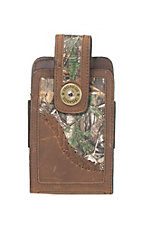 Justin Brown Leather with Camo Accent Phone Holder with Belt Attachment
