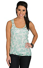 Ethyl Women's Mint and White Sheer Floral Lace Tank Top