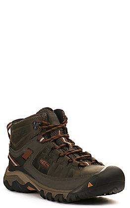 "Keen Men's Targhee III Grey Waterproof Lace Up 6"" Hiker Shoe"