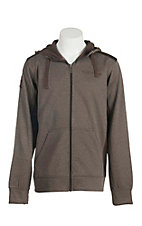 Cinch Men's Brown Woven Long Sleeve Zip Up Hoodie