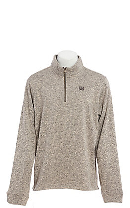 Cinch Men's Heathered Khaki Quarter Zip Pull Over Jacket