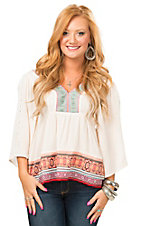 Karlie Women's Cream with Mixed Print Taping & Crochet V-Neck Bohemian Gauze Top