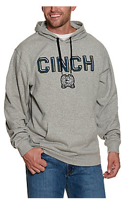 Cinch Men's Grey with Blue Embroidered Logo Hoodie
