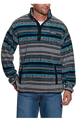 Cinch Men's Blue, Black and Grey Aztec Fleece Pullover Jacket