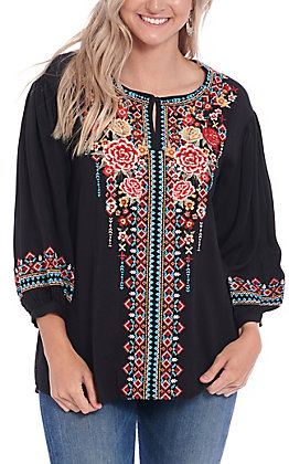April Sky Women's Black Floral Embroidered 3/4 Fashion Top