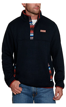 Cinch Mean's Navy with Rust Serape Sweater Knit Pullover Jacket