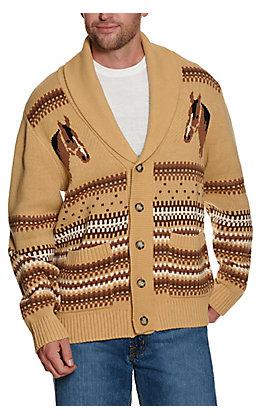 Cinch Men's Retro Tan & Cream Horse Long Sleeve Sweater Cardigan