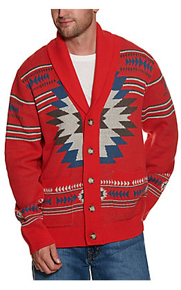 Cinch Men's Retro Red with Blue and White Aztec Long Sleeve Sweater Cardigan