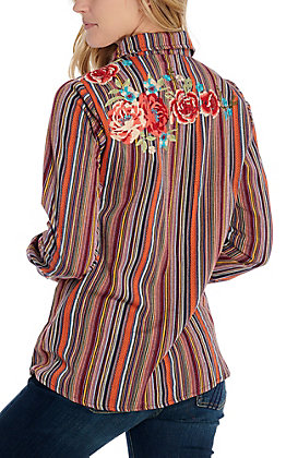 April Sky Women's Serape Striped Floral Embroidered Fashion Top