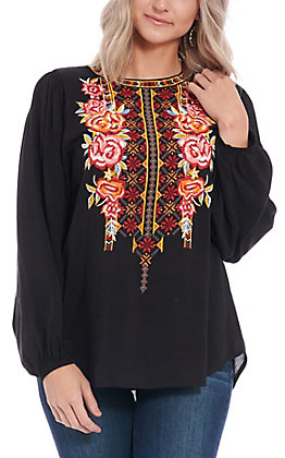 April Sky Women's Black Floral Embroidered Long Sleeve Fashion Top