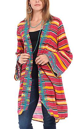 April Sky Women's Pink Serape Print Kimono