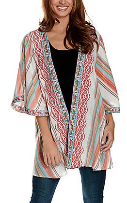 Savanna Jane Women's White with Multi-Colored Stripes & Aztec Embroidery 3/4 Sleeve Kimono