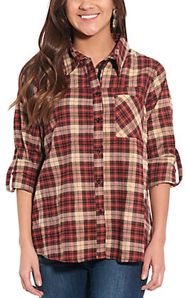 April Sky Women's Red and Tan Plaid with Embroidered Back Long Sleeve Fashion Top