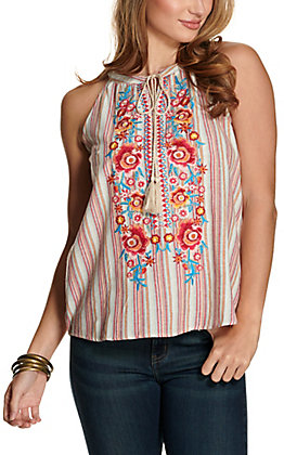 Savanna Jane Women's Cream and Red Multi Stripes with Floral Embroidery Sleeveless Linen Fashion Tank Top