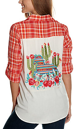 Savanna Jane Women's Orange and Red Plaid with Cactus & Aztec Horse Embroidery Long Sleeve Fashion Top