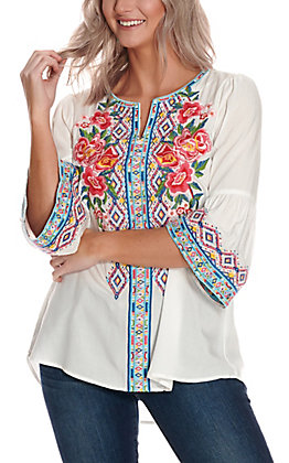 Savanna Jane Women's White with Floral Aztec Embroidery 3/4 Bell Sleeve Fashion Top