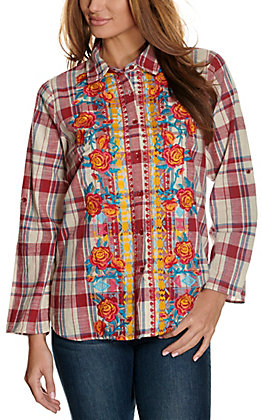 Savanna Jane Women's Red, Cream & Navy Plaid with Floral Embroidery Long Sleeve Fashion Top
