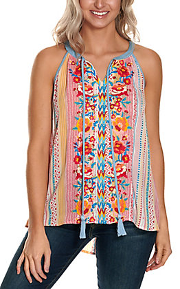 Savanna Jane Women's Pink and Blue Aztec with Floral Embroidery Sleeveless Fashion Tank Top