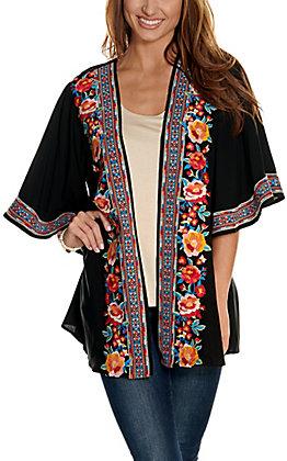 Savanna Jane Women's Black with Multi-Colored Floral Embroidery 3/4 Sleeve Kimono