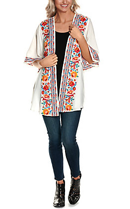Savanna Jane Women's White with Multi-Colored Floral Embroidery 3/4 Sleeve Kimono