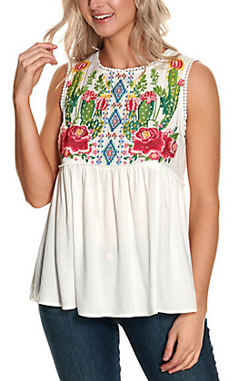 Savanna Jane Women's White with a Floral Aztec Cactus Embroidery Sleeveless Fashion Tank Top