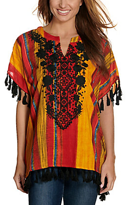 Savanna Jane Women's Red and Gold Print with Black Floral Embroidery & Tassels Poncho Fashion Top