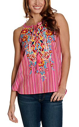 Savanna Jane Women's Pink Serape with Geo Floral Embroidery Sleeveless Halter Fashion Tank Top