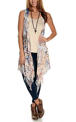 Savanna Jane Women's Multi-Print with Floral Embroidery Distressed Vest