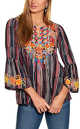Savanna Jane Women's Navy Stripe with Embroidered Flowers Bell Sleeve Fashion Top