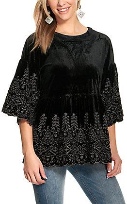 Savanna Jane Women's Black Velvet Embroidered Peplum 3/4 Sleeve Top