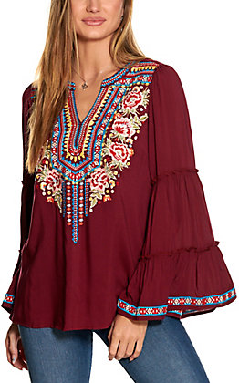 Savanna Jane Women's Burgundy with Embroidery Long Sleeve Fashion Top
