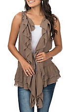 Umgee Women's Coffee Ruffle Lace Vest