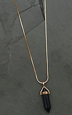 Amber's Allie Gold with Black Crystal Pendant Necklace